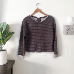 Melrose and market cropped frayed sweater maroon S
